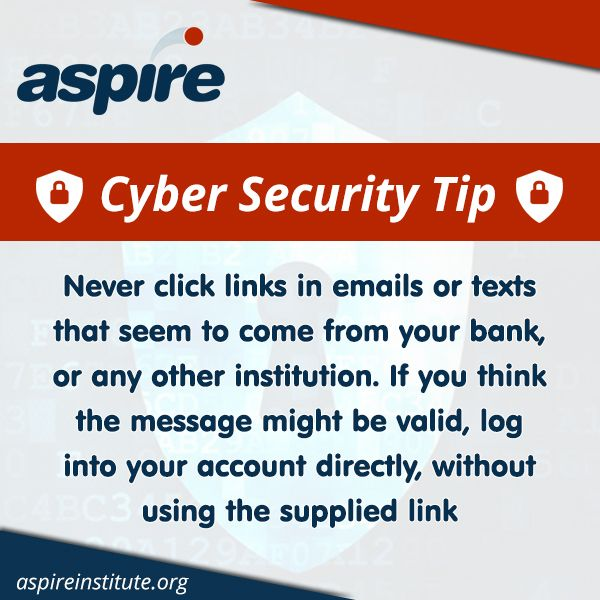 Think twice before clicking on links found in emails, especially if