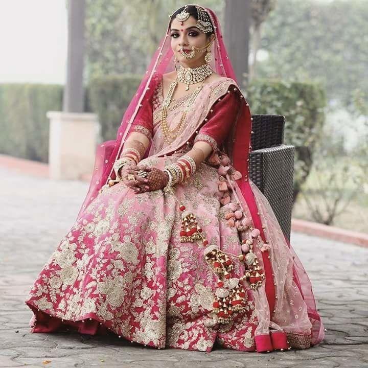 Ombre pink bridal lehenga