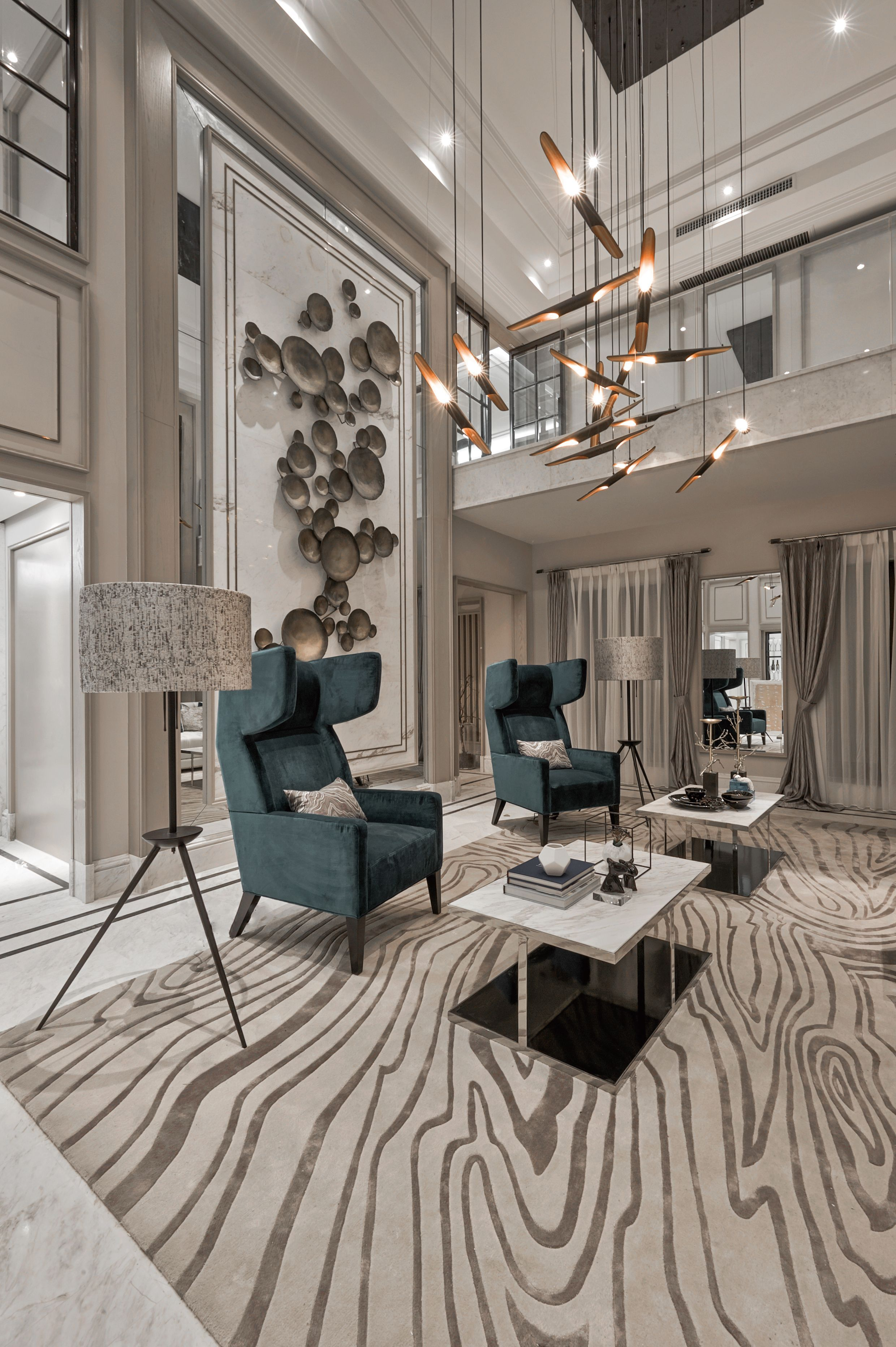 Luxurious Living Room With Delightfull Lighting Designs In Almaty