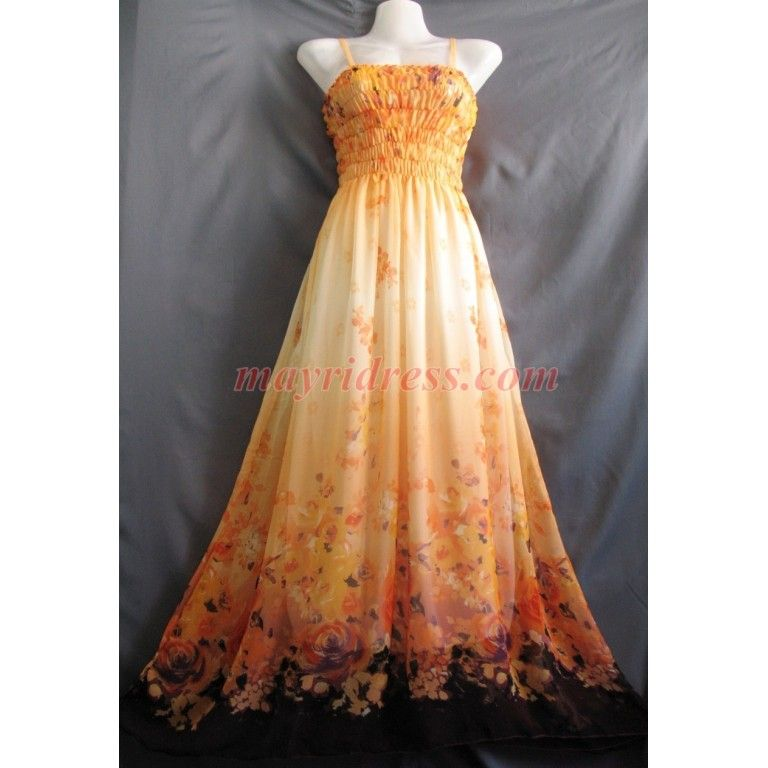 New Long Maxi Dress Orange Bridesmaid Plus Size Sundress Chiffon ...