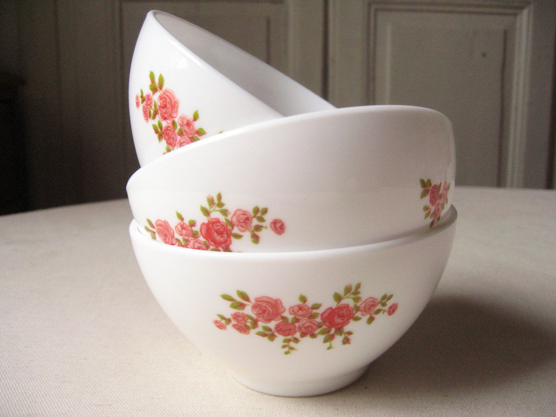 3 bowls Arcopal french milk coffee / glass Opal pink small pattern ...