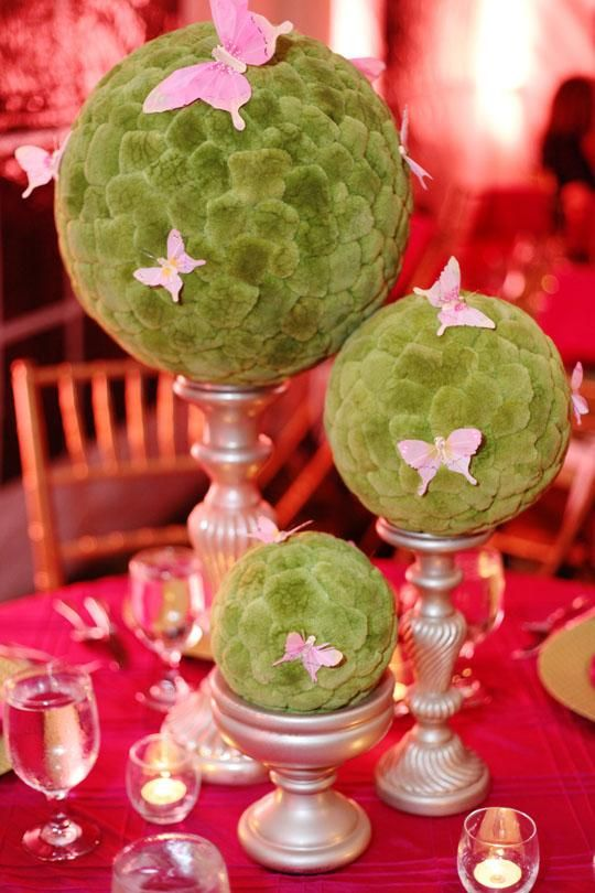 Moss On Candle Sticks Erfly Centerpieces