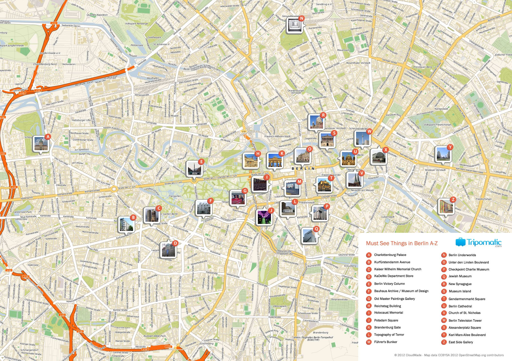 Free Printable Map of Berlin attractions. | Free Tourist ...