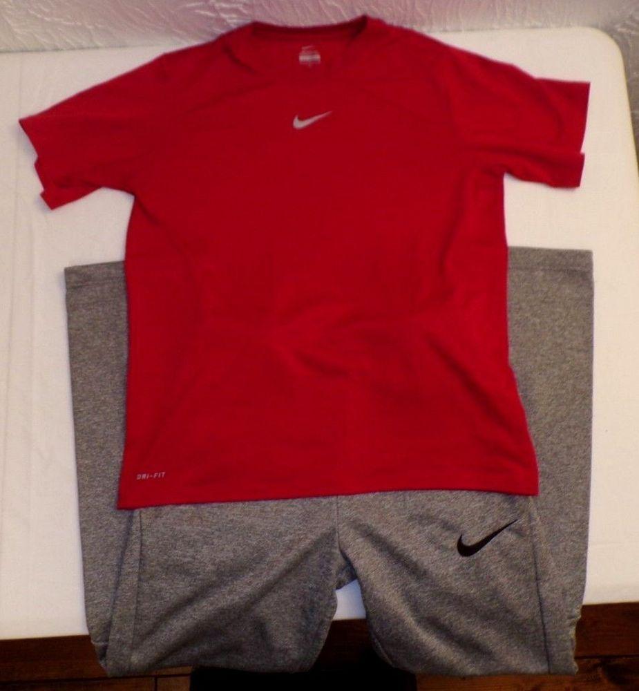 150521e365a Lot 2 NIKE Dri-Fit Athletic Pants GREY Shirt RED Youth Boys LARGE 14-16 L  EUC #Nike #AthleticSweatPants #Everyday