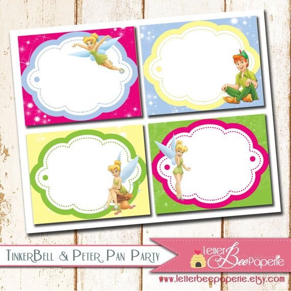 Tinkerbell Party Food Tents / Labels Girls By