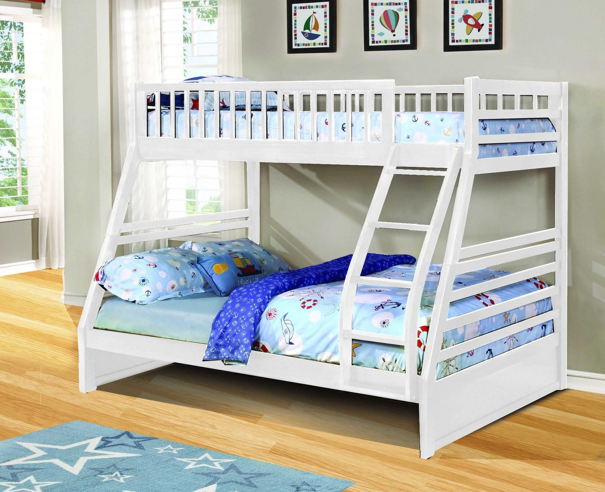 Contemporary White Finish Twin Over Full Bunk Bed In 2021 Bunk Beds With Drawers Bunk Beds With Storage Twin Full Bunk Bed White twin over full bunk bed