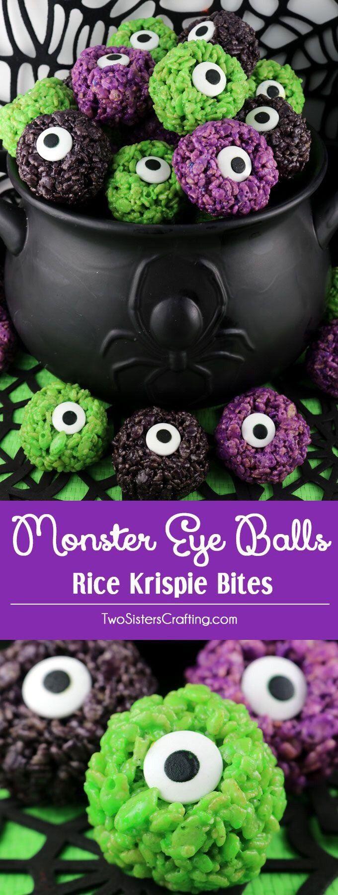 Monster Eye Balls Rice Krispie Bites #halloweentreatsforschool
