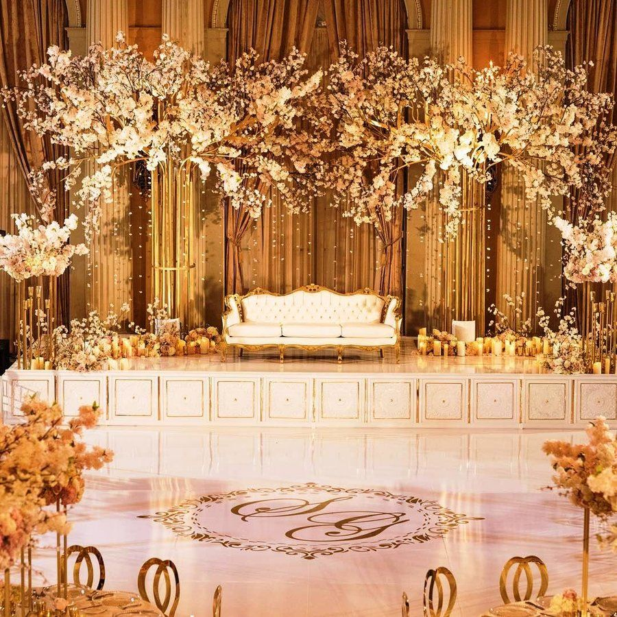 wedding stage decoration decorations gold decor rustic simple shaadisaga indoor indian engagement reception grand sikh company shawna debut