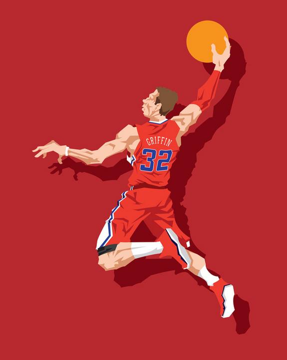 Blake Griffin Beatdown In La Caricature Art Basketball