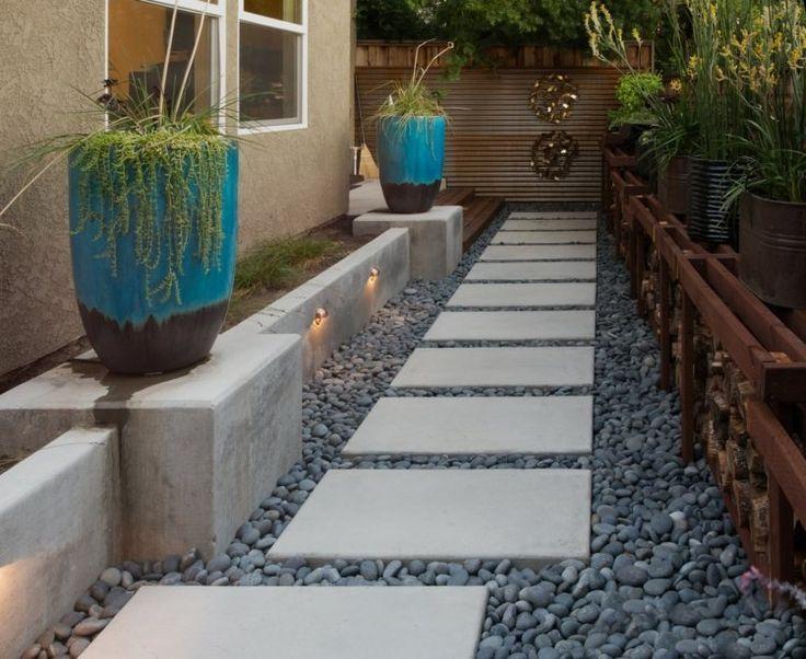 Idee Zur Gestaltung Eines Wegs Mit Platten Und Kies Eines Gestaltung Idee Kies Mit Platten Und Wegs Zur Moderne Landschaftsgestaltung