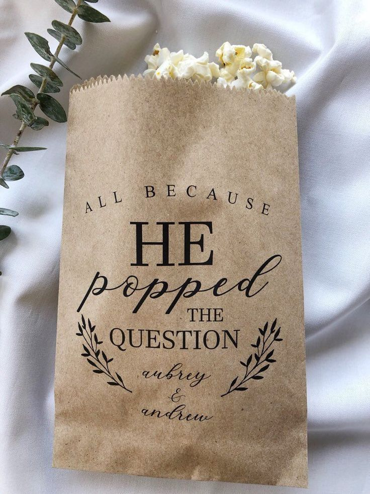 He Popped the Question Popcorn Bags Wedding Favor Bag | Etsy