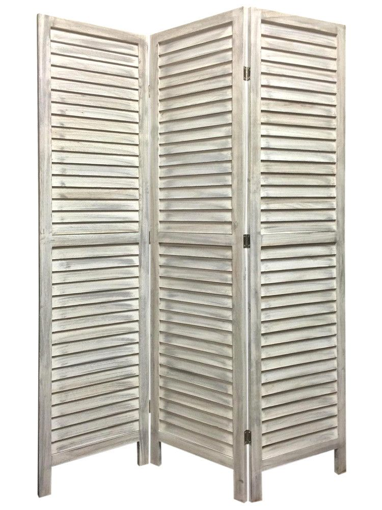 Screen Gems Shutter Room Divider Washed White In