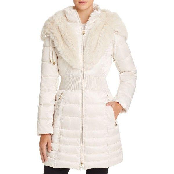Laundry By Shelli Segal Faux Fur Trim Satin Puffer Coat 285