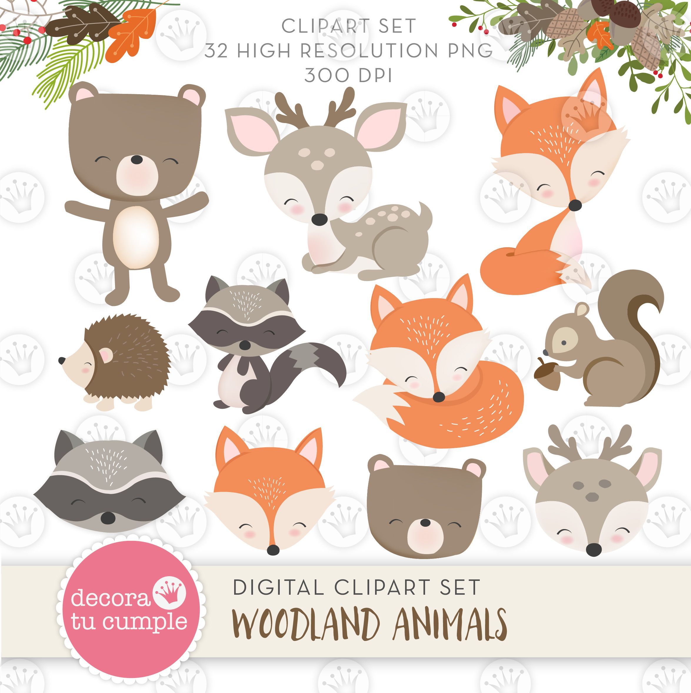 Woodland Animals Forest Papers And Cliparts Pack Etsy Woodland Animals Animal Clipart Forest Animals