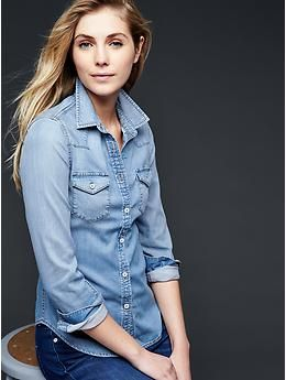 9db89864fb 1969 GAP denim bleached western shirt -- living in chambray tops this summer