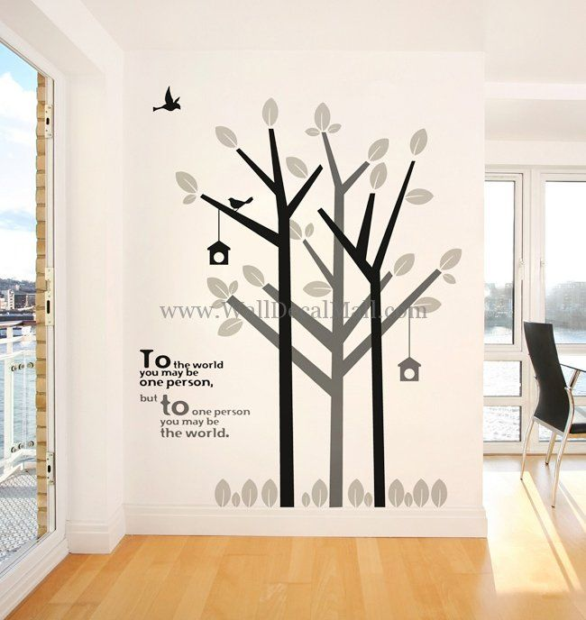 Green Life Tree With Bird Wall Decals U2013 WallDecalMall.com