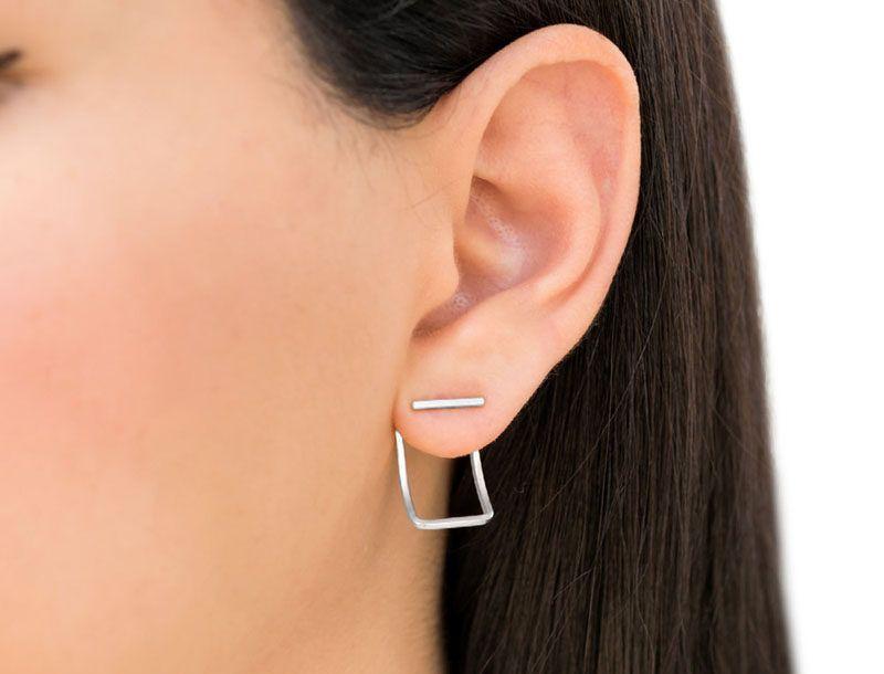 925 Sterling Silver Square Line Bar Stud Earrings Geometric Jewelry,Square Geometric Studs Bar Earrings Line Bar Bar Studs Bar Jewelry