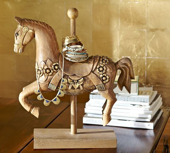 How adorable is this Carousel Horse Jewelry Display from Pottery