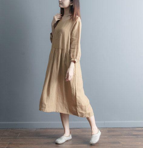 Apricot Skirt- Linen Skirt-- Handmade Skirt-- Long Skirt-Expansion Skirt- Loose Skirt- Spring Skirt on Etsy, 49,99$