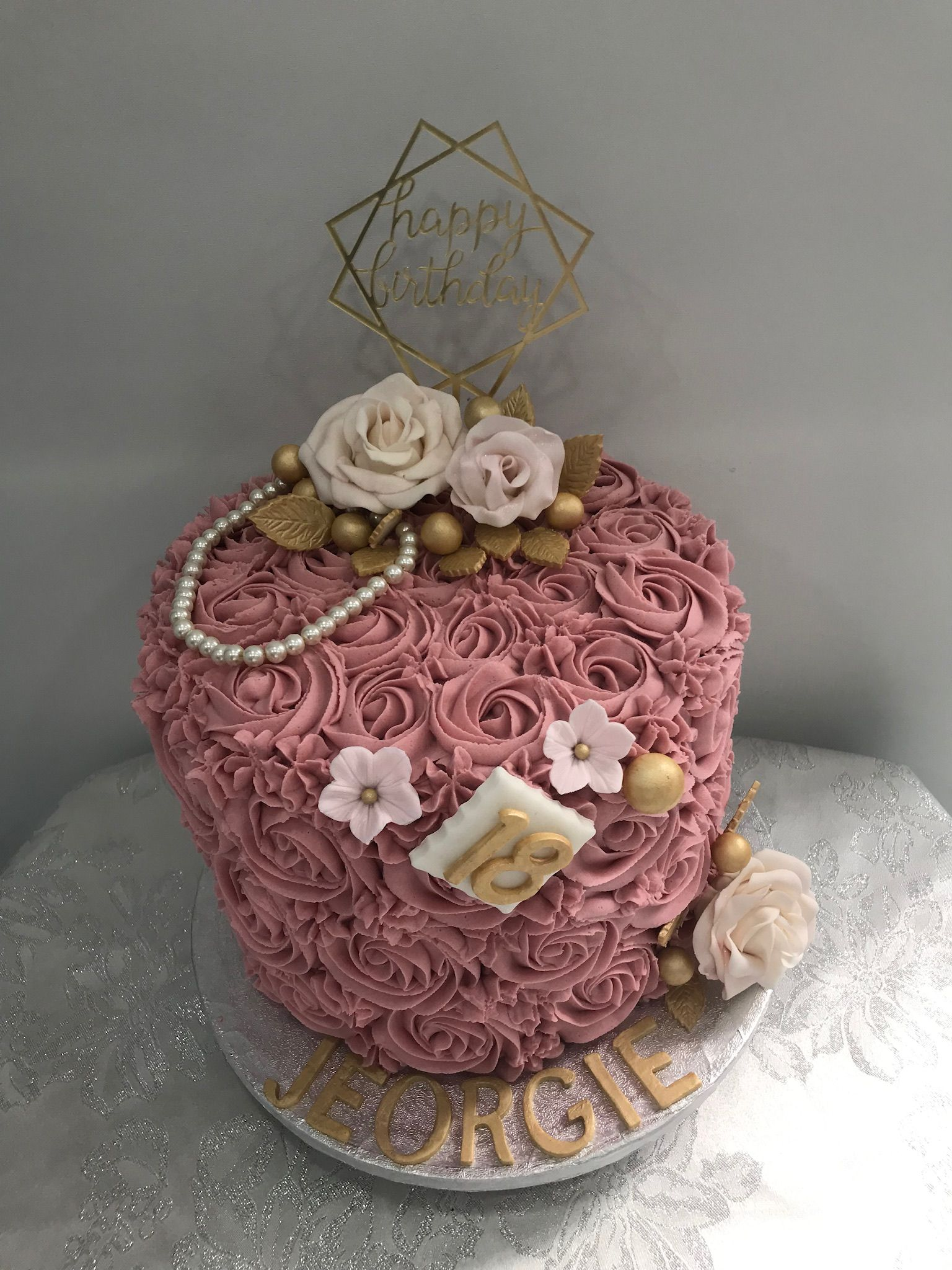 Dusty Pink Buttercream Rose 18th Birthday Cake With Images