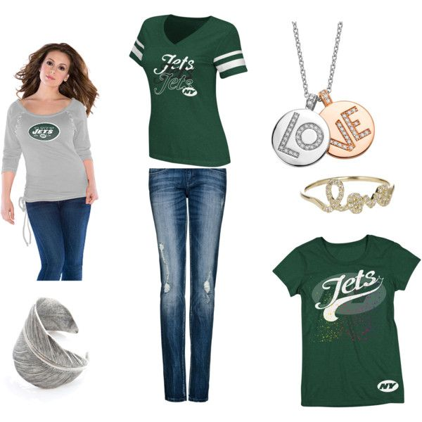 Cute gameday outfit created by a Jets fan, featuring Touch!
