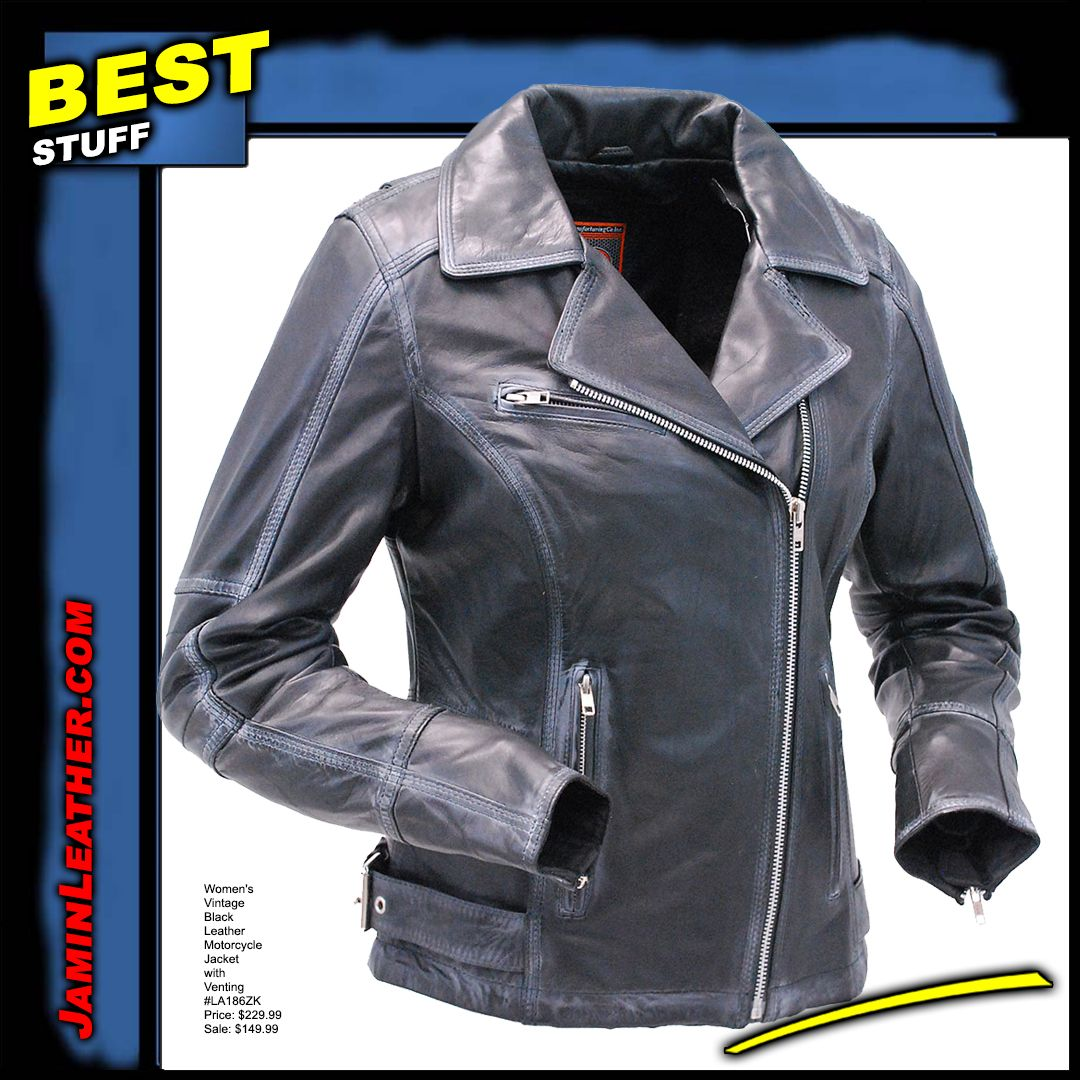 First Mfg Women S Vintage Black Leather Motorcycle Jacket With Venting La186zk Black Leather Motorcycle Jacket Womens Black Leather Jacket Leather Motorcycle Jacket Women