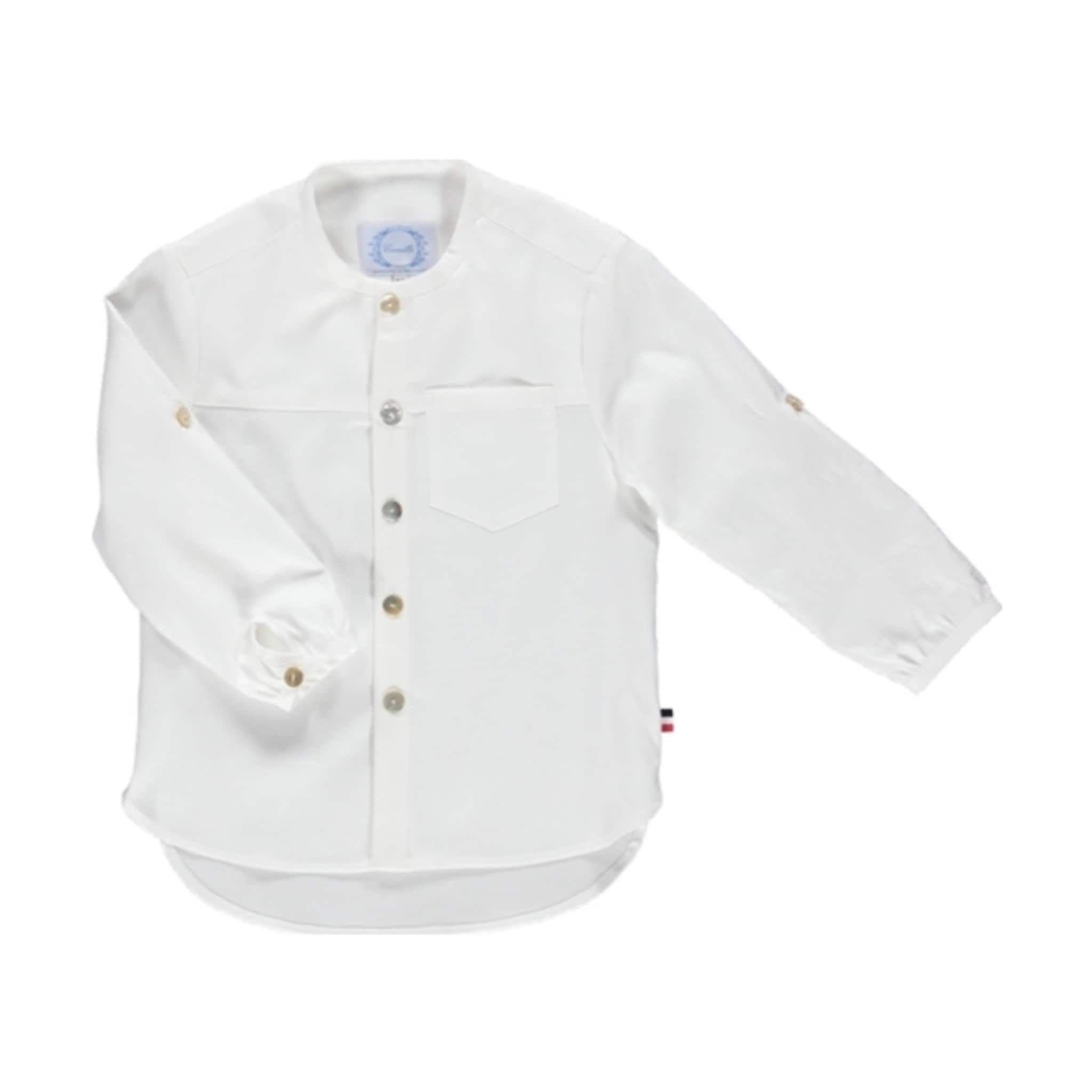 Mandarin collar flannel  White Shirt  Camellia at Kide  AW   Baby Boy Collection