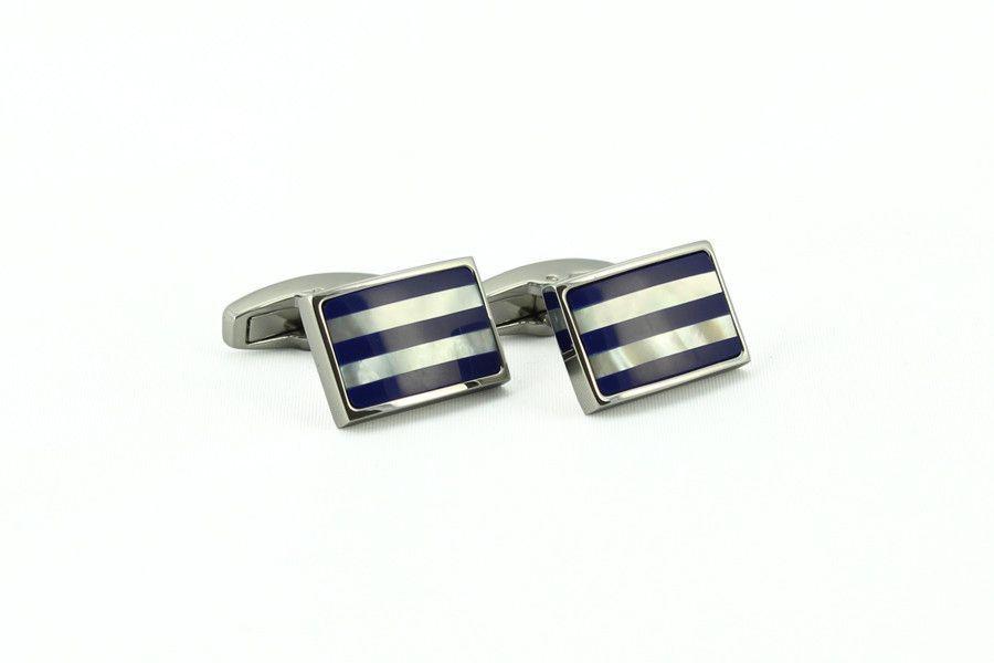 Silver Blue Stripe Cufflinks