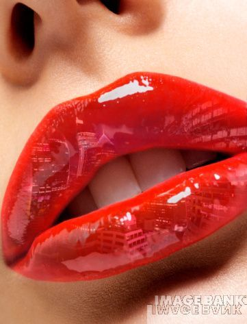 Close Up Of Red Glossy Lips Reflecting City Scape In 2020 Glossy