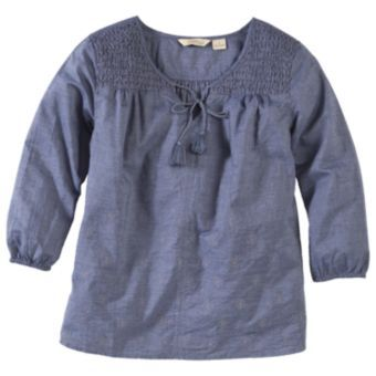 Natural Reflections® Embroidered Chambray Top for Ladies - Three-Quarter Sleeve | Bass Pro Shops