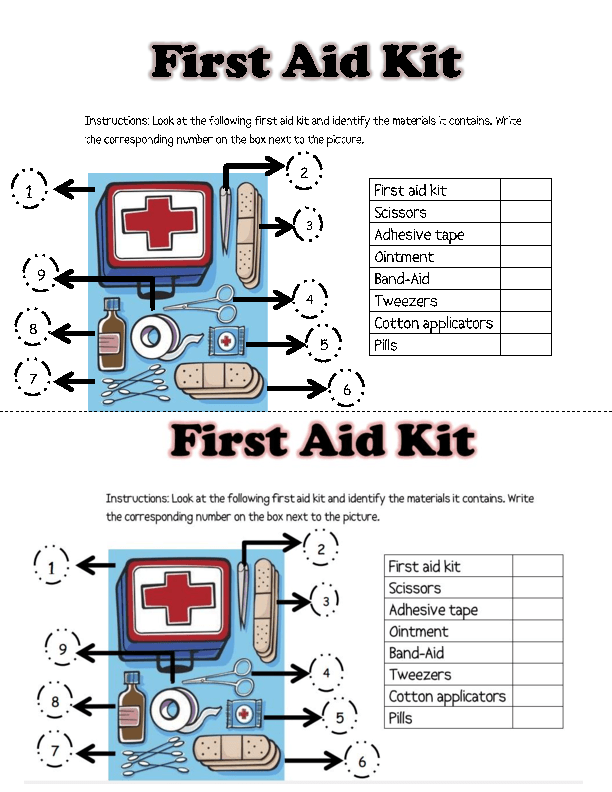 first aid activity worksheets first aid kit