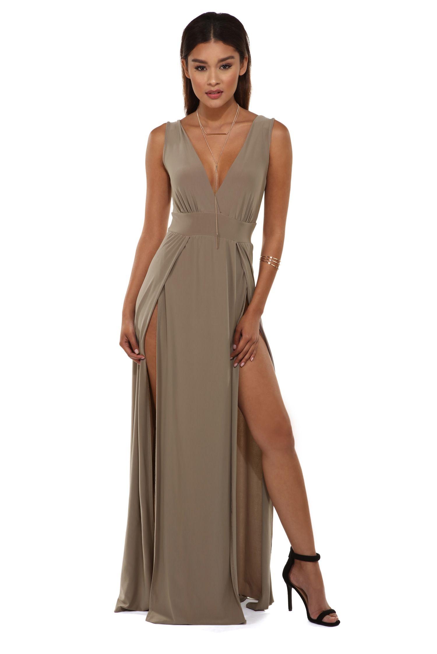 Missy taupe high slit dress windsor dreses pinterest taupe missy taupe high slit dress windsor ombrellifo Images