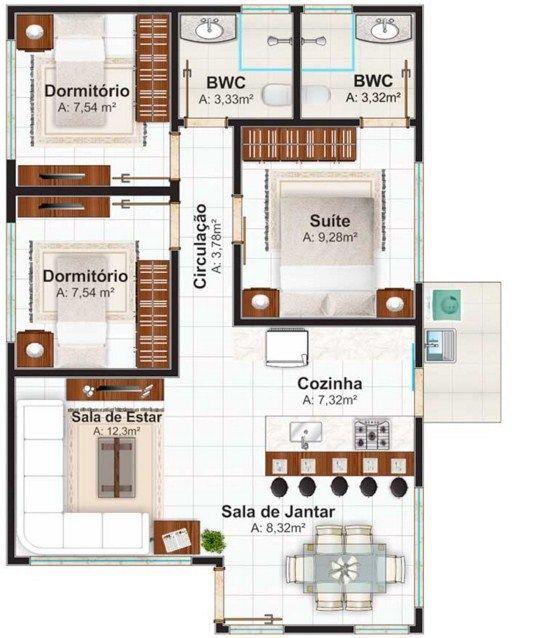 planos de casas de 2 pisos de 60 metros cuadrados