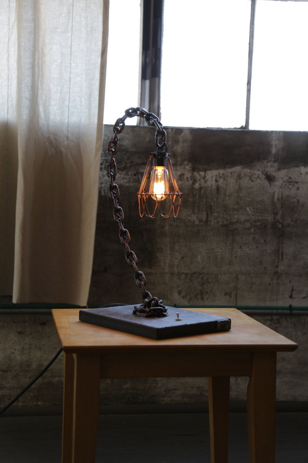 Curve - Chain Table Lamp (Industrial Rust finish) by ZHfabrications on Etsy  https: - Curve - Chain Table Lamp (Industrial Rust Finish) By