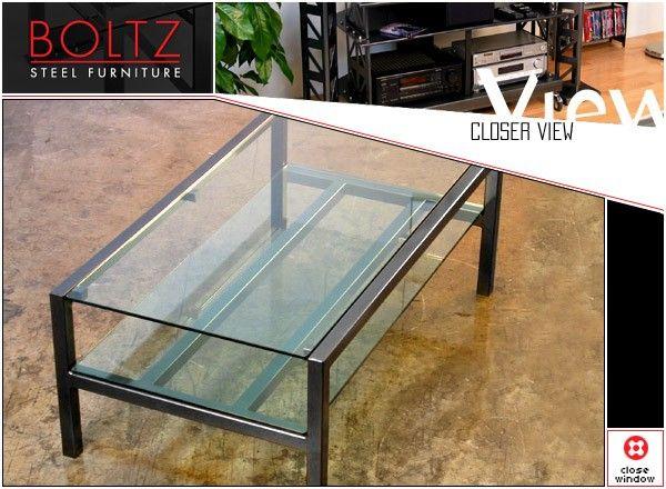 Steel Glass Coffee Table by Boltz Coffee Tables Boltz Steel