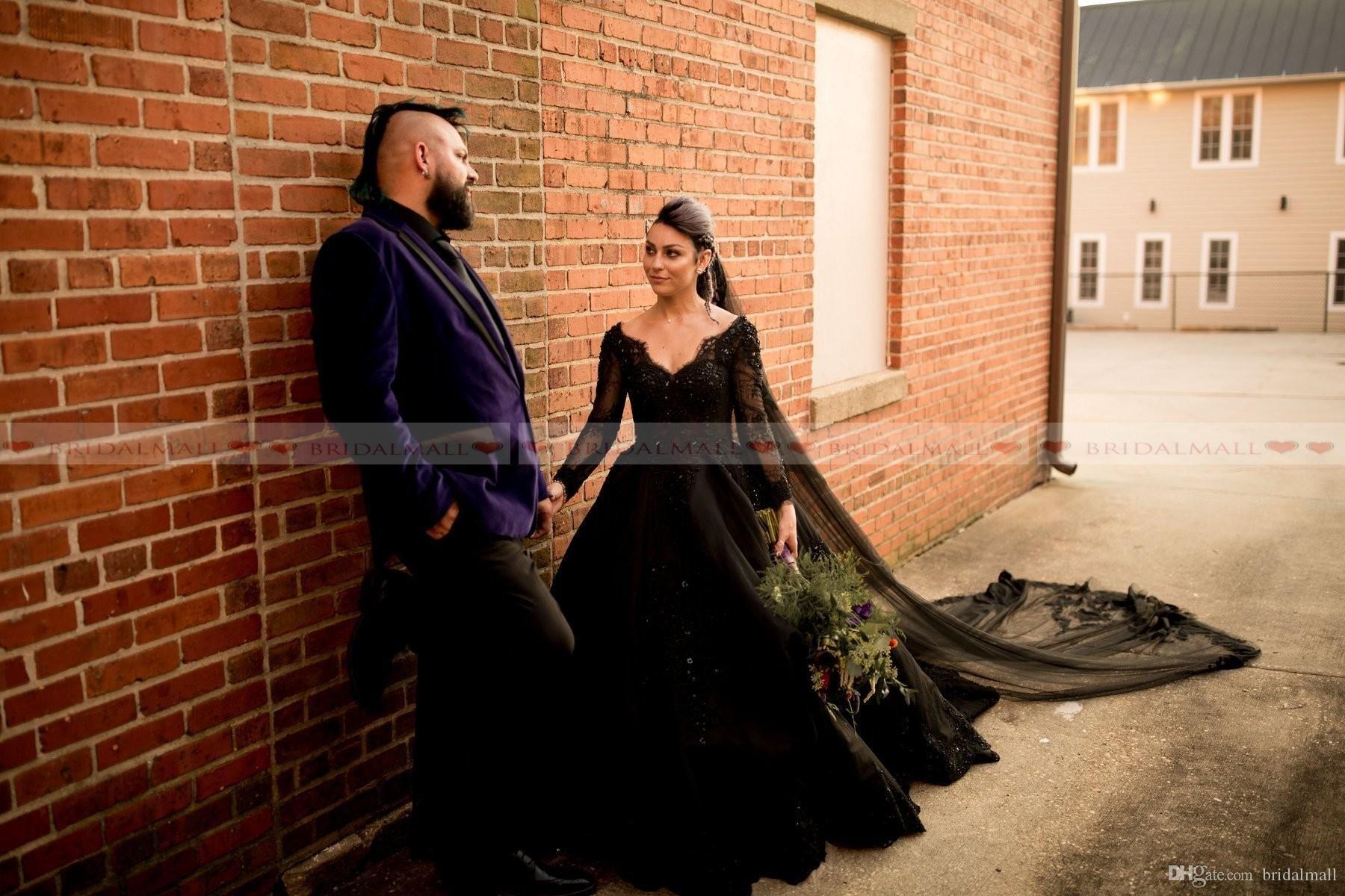 Discount Plus Size 2019 V Neck Black Lace Ball Gown Wedding Dresses Beaded Applique Sheer Long Sle Black Ball Gown Ball Gown Wedding Dress Gothic Wedding Dress [ 1200 x 1800 Pixel ]