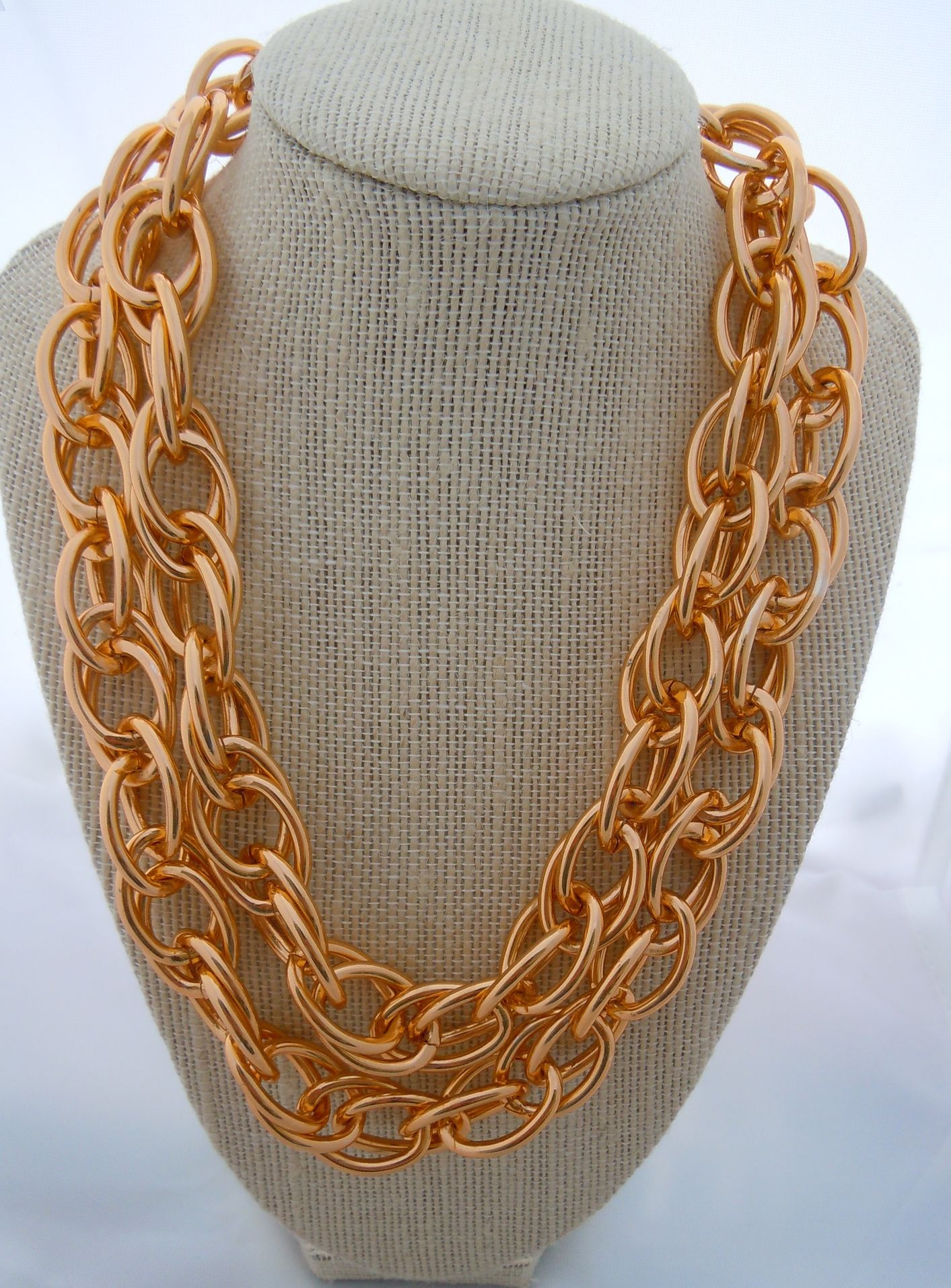 ad2dba14c6e7c House of Zada Chunky/Statement Two Tier Gold Chain Necklace ...