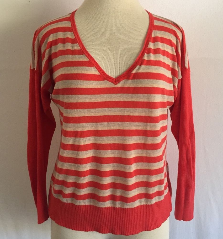 VICTORIA'S SECRET ORANGE STRIPED RIBBED SLEEVES TOP SHIRT BLOUSE SWEATER SZ XL #VictoriasSecret #VNeck