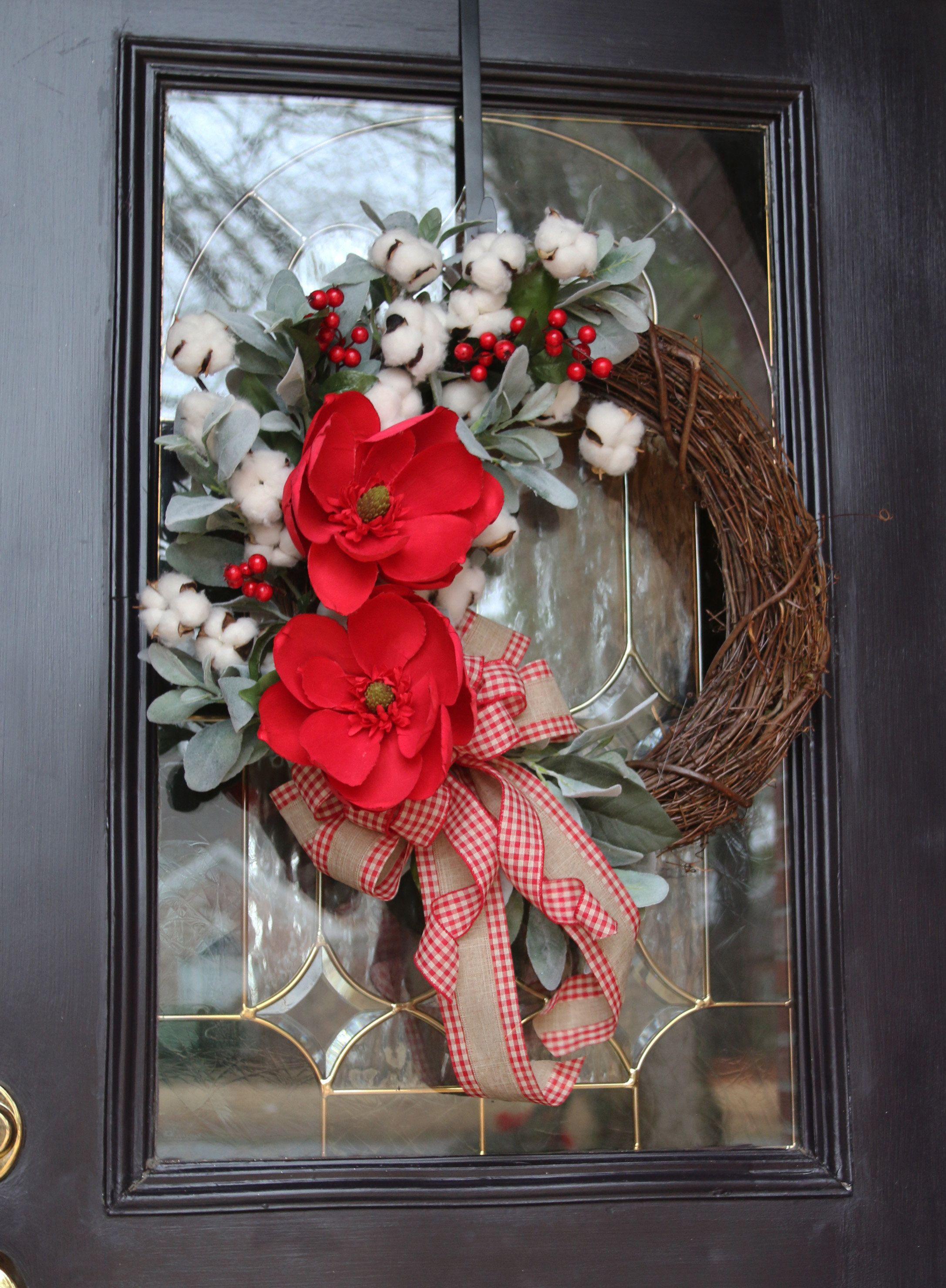 Winter Farmhouse wreath, Valentine's Door Wreath, Magnolia & Cotton Winter Decor, Double Door Valentine Wreath, Rustic Country Winter Wreath #doubledoorwreaths