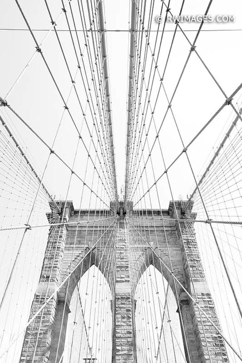 BROOKLYN BRIDGE NEW YORK CITY BLACK AND WHITE VERTICAL - Limited Edition of 100 Photograph