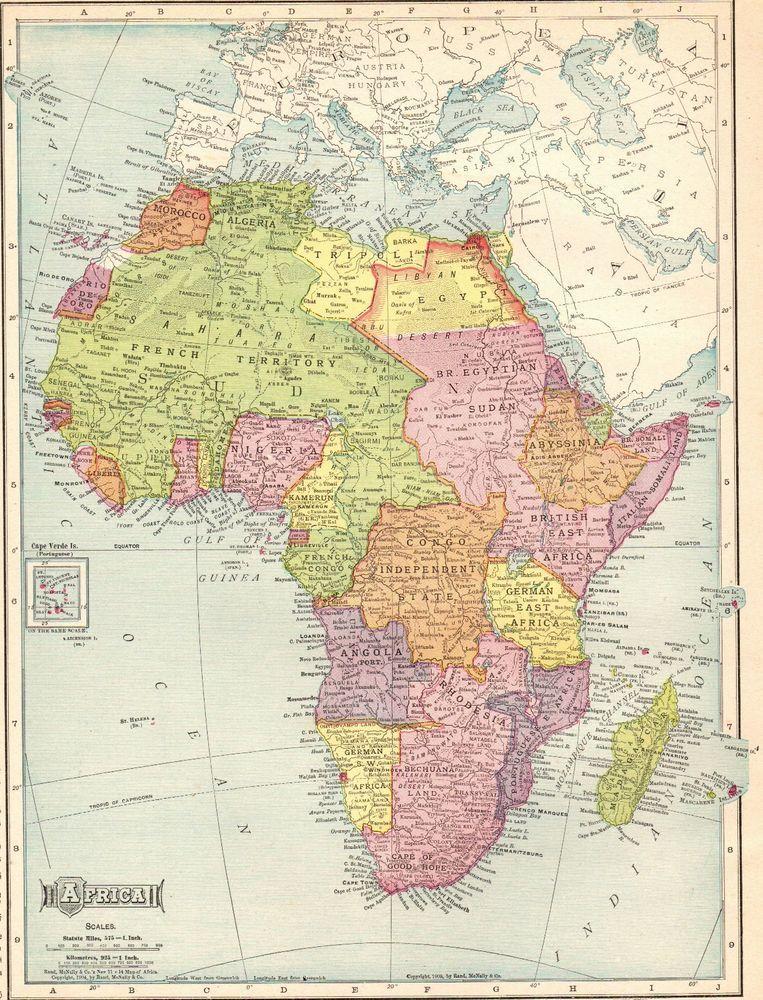 1910 Antique AFRICA Map Beautiful Original Vintage Map of Africa