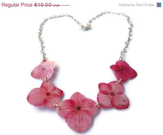 15 OFF VDAY SALE Five pink hydrangea by AmazoniaAccessories, €16.15