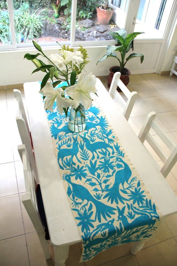 Turquoise Otomi Table Runner Www.casaotomi.com Casa Otomi Hand Embroidered  Authentic Mexican Suzani