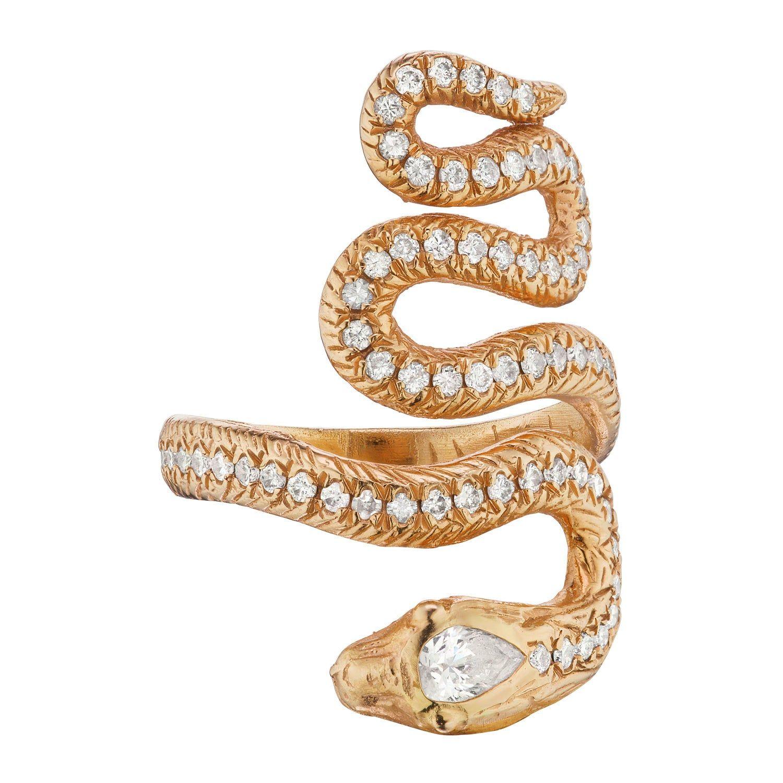 Snake Ring 18 Karat Pink Gold With 0 80 Carat Diamonds In 2020 Snake Ring Pink And Gold Karat
