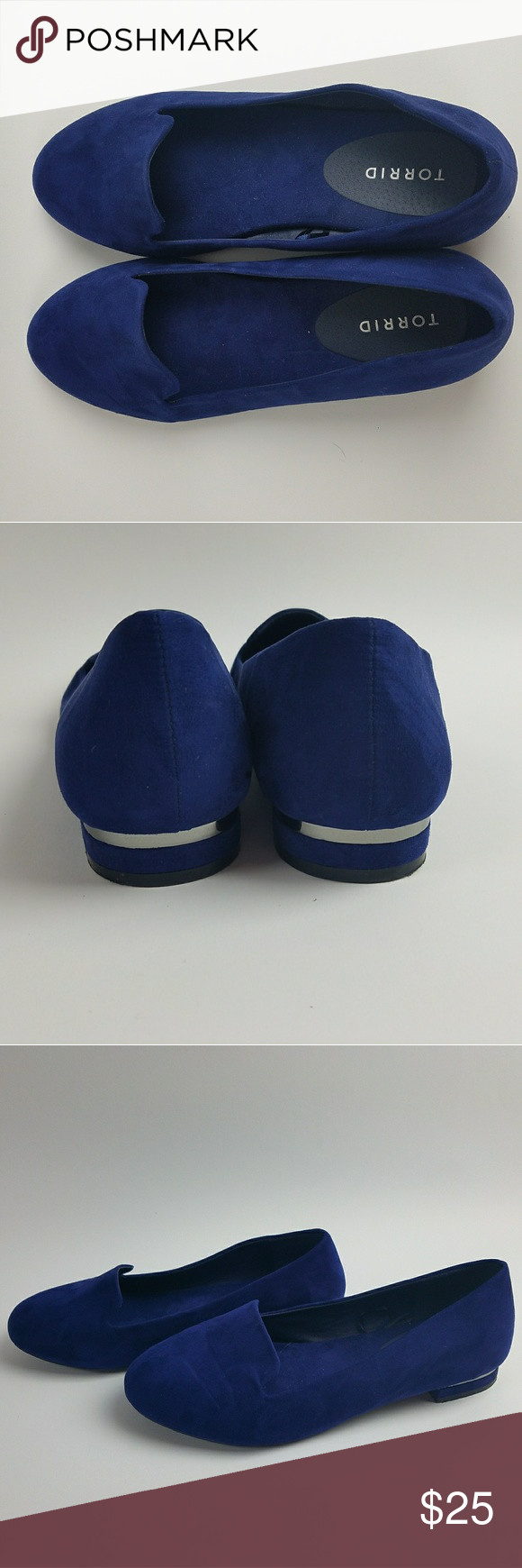 Torrid blue suede loafers size 11 W