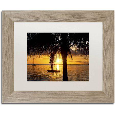 Trademark Fine Art Peaceful Sunset Canvas Art by Philippe Hugonnard, White Matte, Birch Frame, Size: 16 x 20, Orange