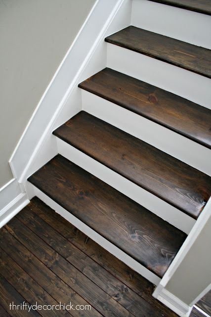 Wood And White Stair Makeover Stair Renovation Diy Staircase   White Stairs With Wood Steps   Light Wood   White Riser   Outdoor   Dark   Traditional