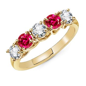 Angara Round Diamond Ring with Ruby Side Stone in Rose Gold htoqYVvMR