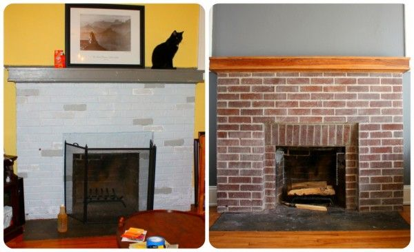 How To Diy Remove Old Paint From Brick Stripping Paint Brick Fireplace Cheap Renovations