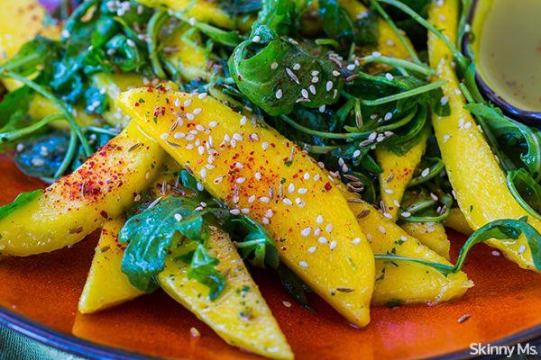 Mango Arugula Salad with Cilantro Crema - one of the most unique, yet delicious, salad recipes you'll find online. #mango #arugulasalad #saladrecipes